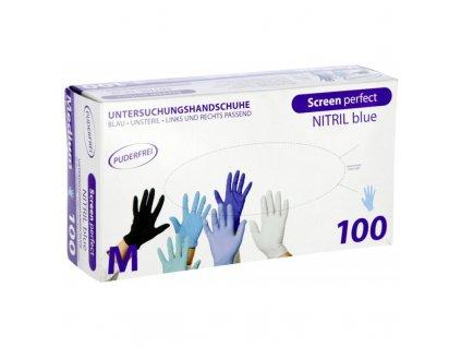 Rukavice nitrilové Screen Perfect, modré, délka 24 cm, velikost M