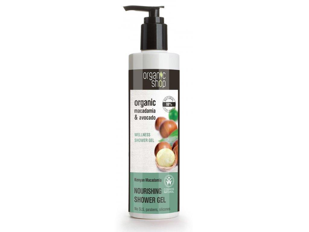 organic shop vyzivny sprchovy gel macadamia a avokado 280 ml