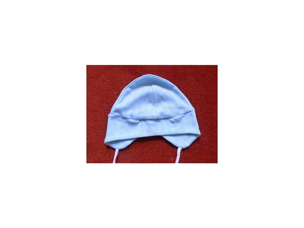 Bavlněná čepička pilotka modrá s dírkatým vzorem 68