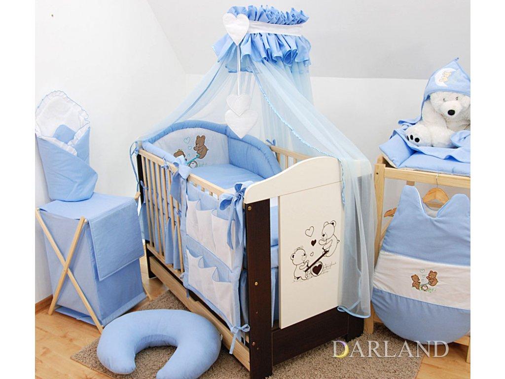 Dětské povlečení na polštář a přikrývku - sada s výšivkou medvídek na houpačce modrý