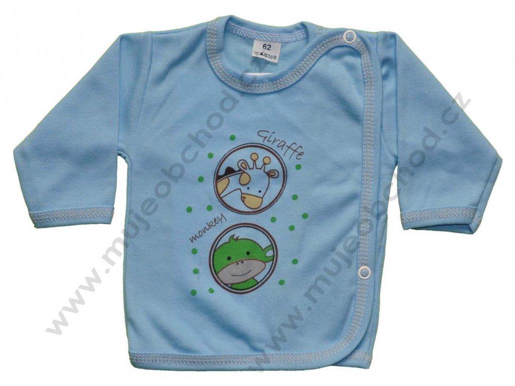 Bavlněná košilka s žirafkou a opičkou modrá vel.62