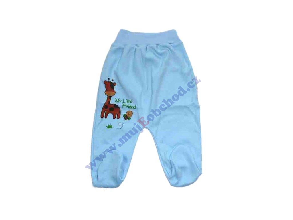Bavlněné polodupačky se žirafkou modré 56