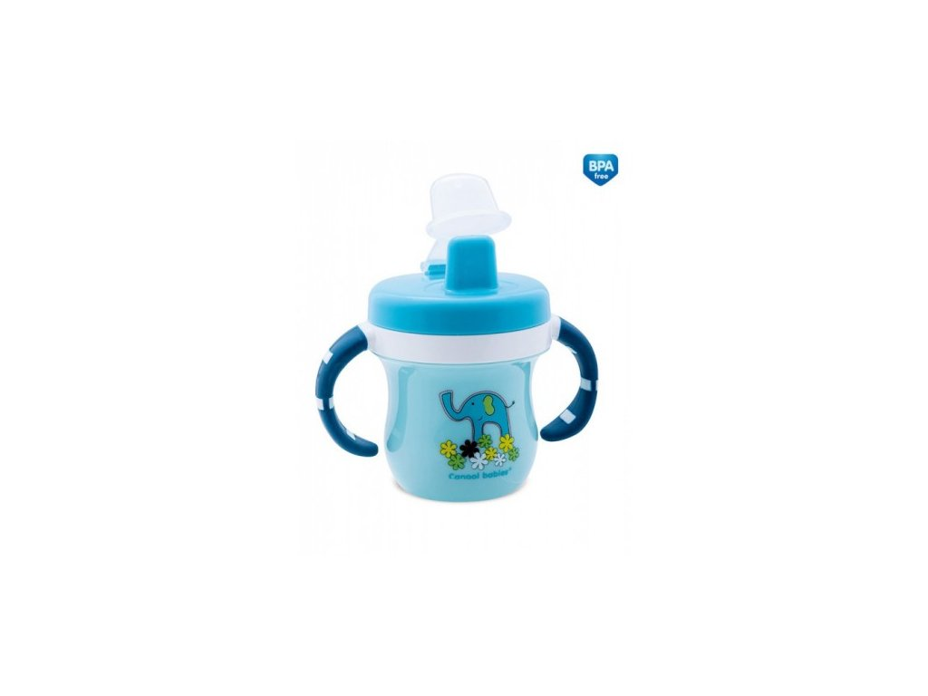Canpol Babies Hrníček s krytem na pítko Colouful Animals modrý