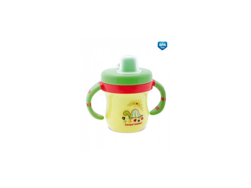 Canpol Babies Hrníček s krytem na pítko Colouful Animals zelený
