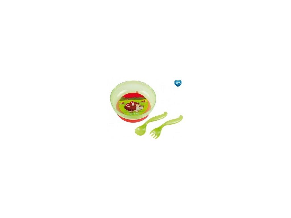 Canpol Babies Miska s víčkem, přísavkou,lžičkou a vidličkou