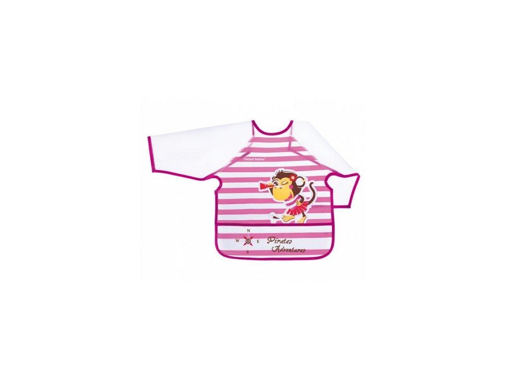 Canpol Babies Plastový bryndák s rukávky Piráti růžový 24+