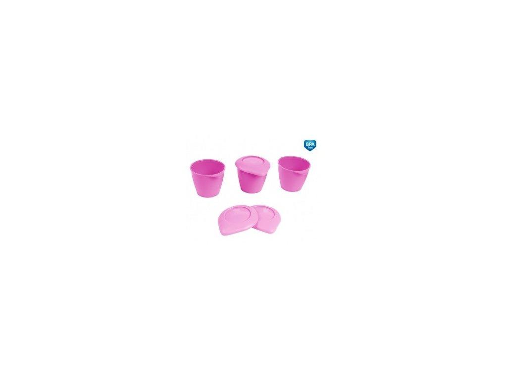 Canpol Babies Zásobníky s víčkem BASIC 3ks růžové