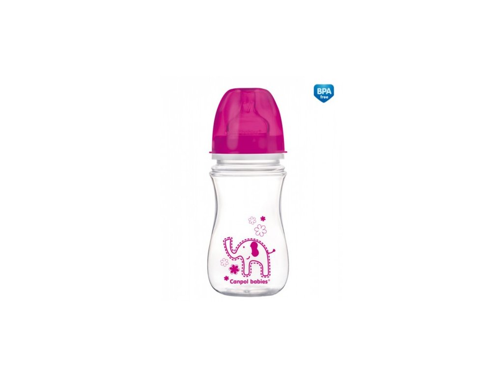 Canpol láhev se širokým hrdlem jednobarevná 240ml růžová