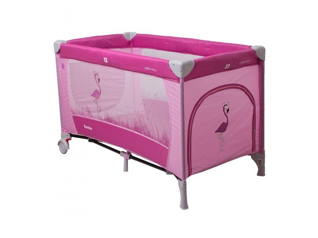 Cestovní postýlka SAMBA DINO CoTo Baby růžová