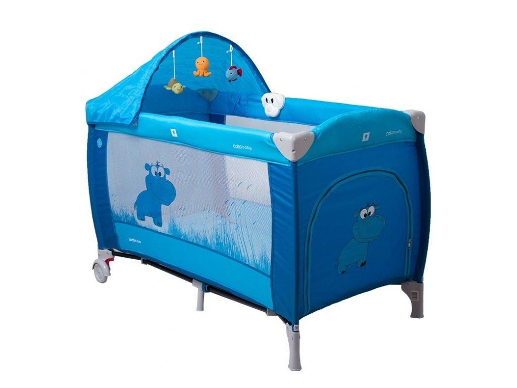 Coto Baby Luxusní cestovní postýlka Samba LUX NEW zvířátko modré