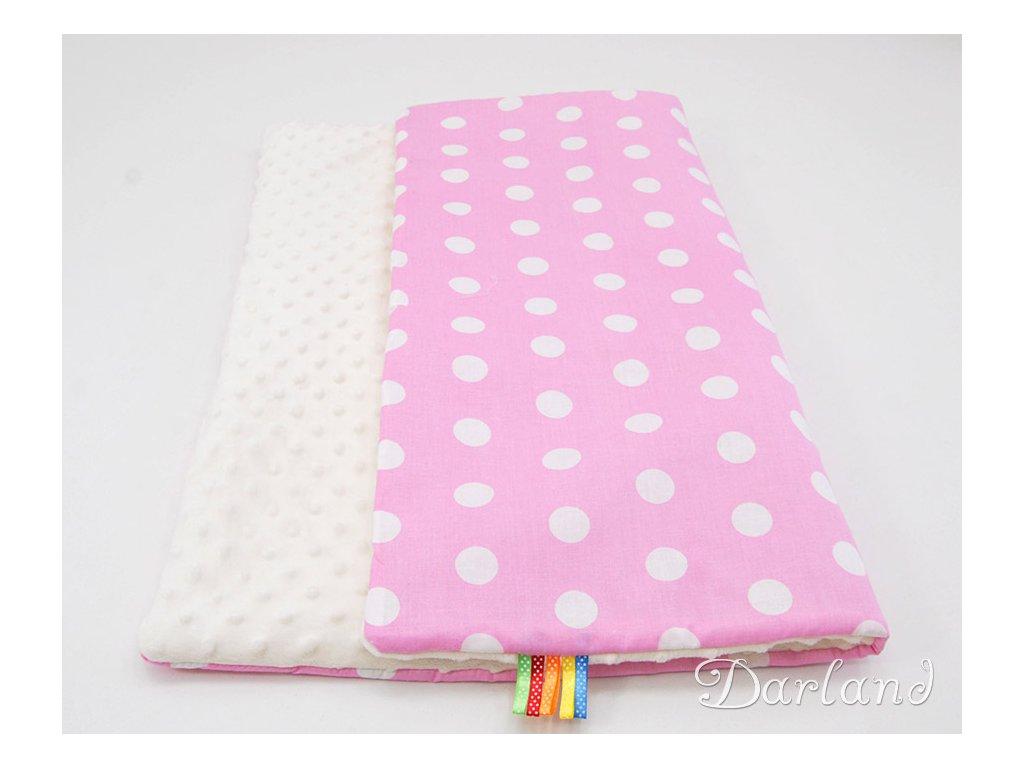 DARLAND Deka MINKY 75x100 Puntíky bílé na růžovém/ecrue
