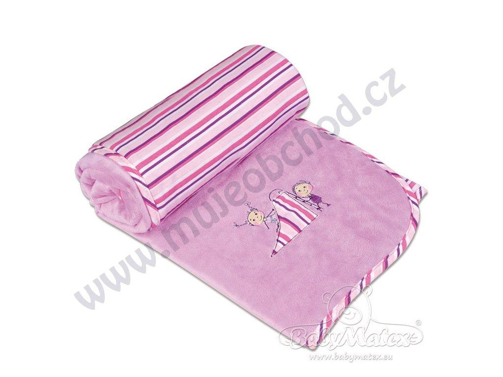 Baby Matex Dětská deka LOVE růžovo fialová