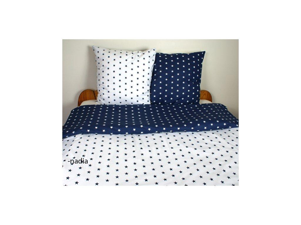 Dětské povlečení 140x200,70x90 Hvězdičky modré/hvězdičky bílé