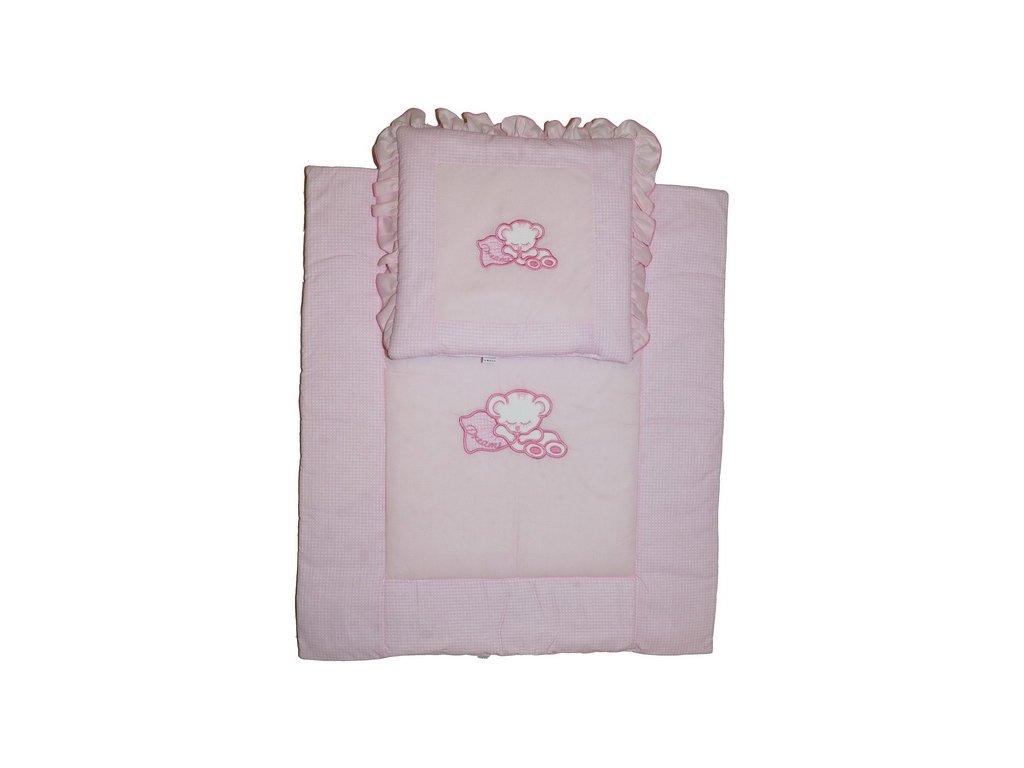 Elan Luxusní sada do kočárku s výšivkou růžová