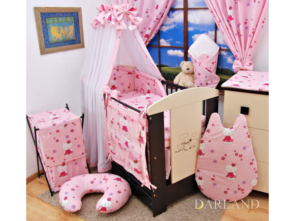 Dětské povlečení na polštář a přikrývku - růžové Kitty provedení