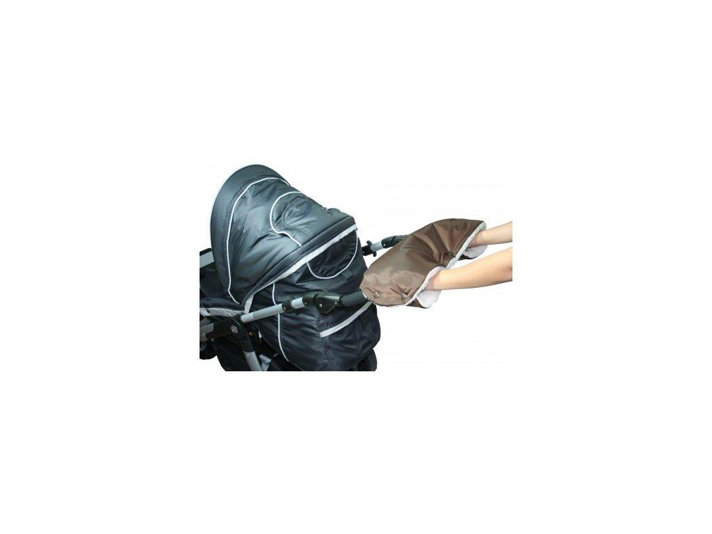 Rukávník ke kočárku hnědý+50% kožich Emitex