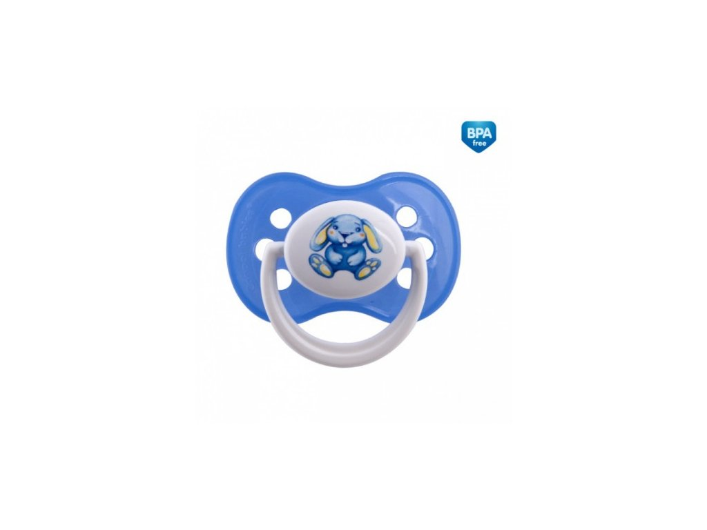 Šidítko 0-6m silikonové symetrické MILKY modré
