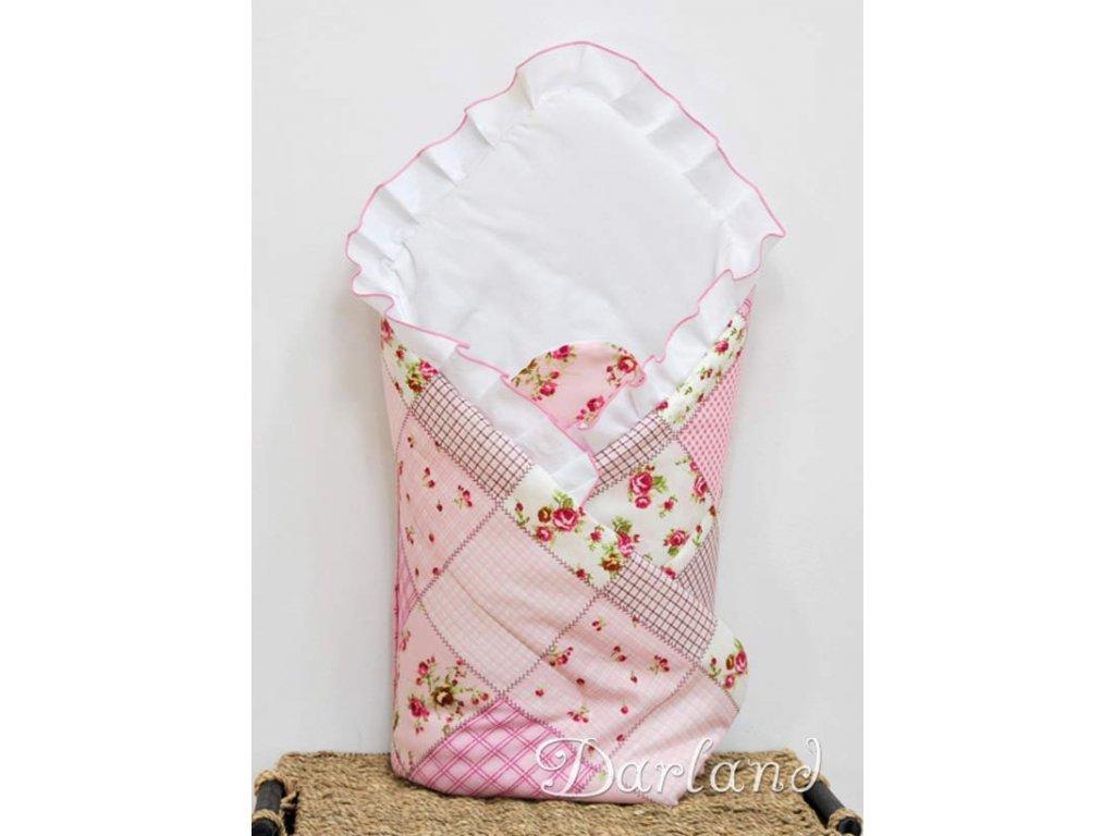 Zavinovačka s výztuží Patchwork růžový