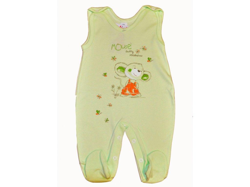 Bavlněné dupačky Mouse sunny meadow zelený vel. 62