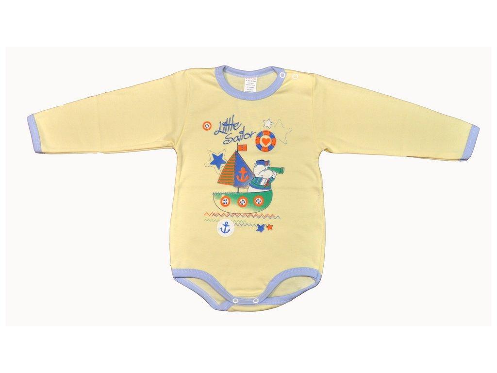 Bavlněné body Little sailor žluté vel.86
