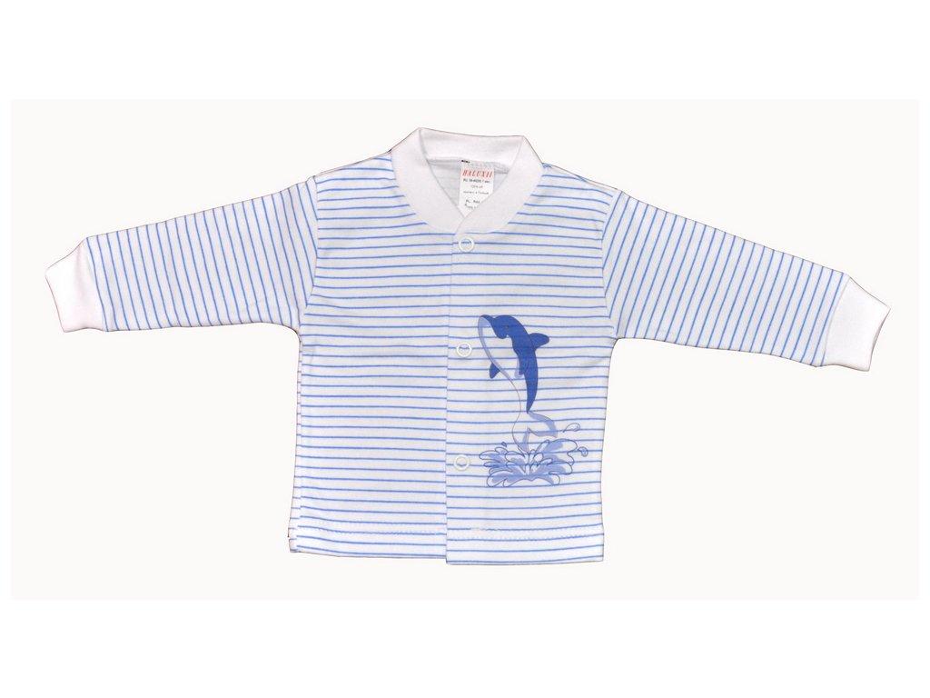 Bavlněný kabátek Delfín modré proužky vel.56