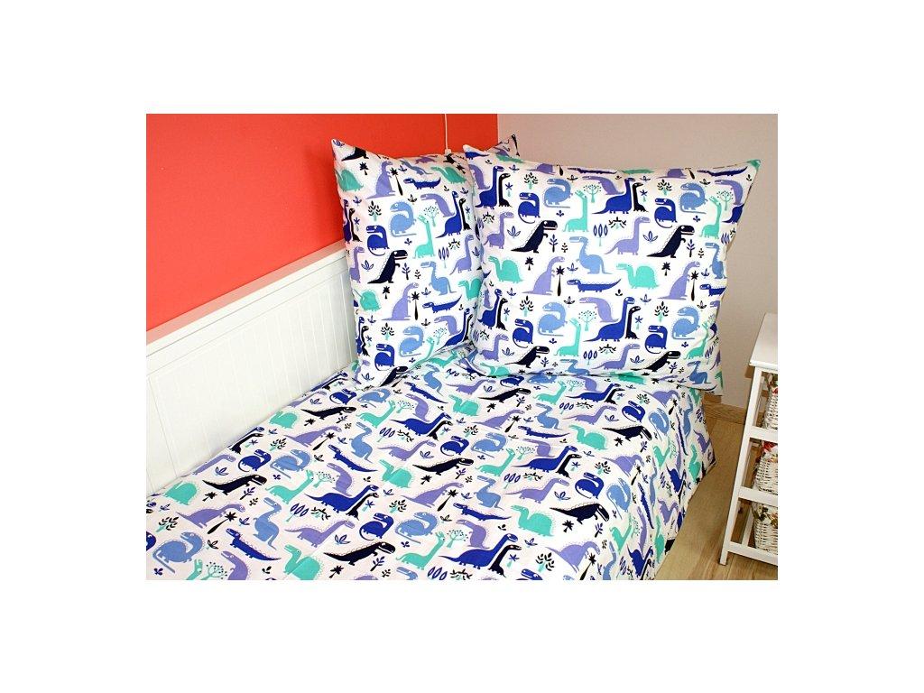 Dětské povlečení 140x200,70x90 Dino modrý