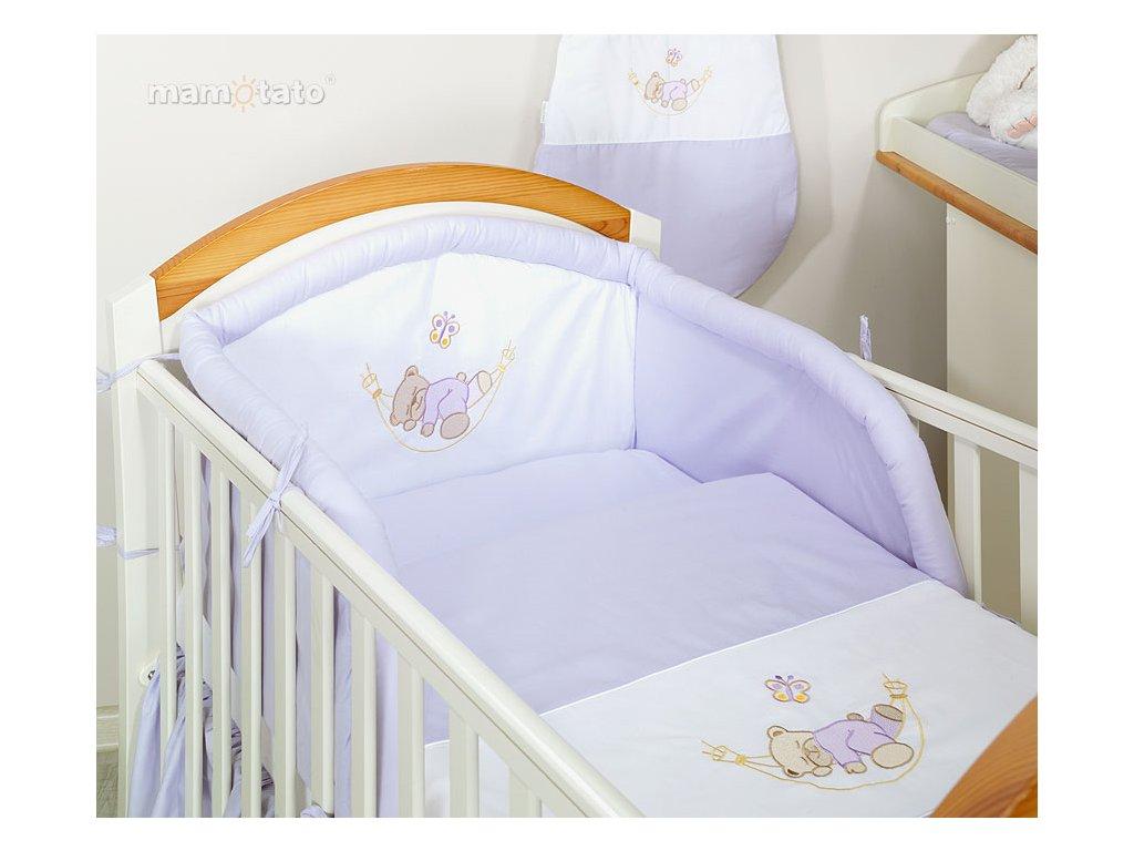 Mamo Tato 3-dílná sada s výš. medvídek s motýlkem v hamaku fialový 120x90