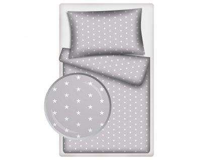 Dětské povlečení 140x200,70x90 Hvězdičky bílé na šedém podkladu