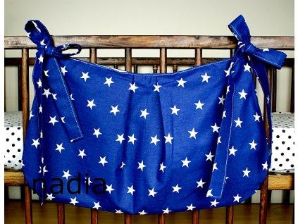 Taška na postýlku - Hvězdičky bílé na modrém