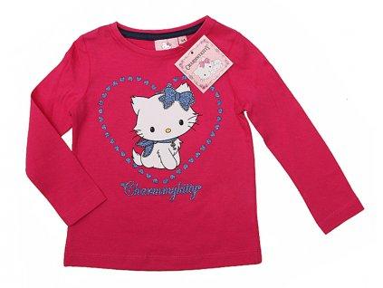Tričko s dlouhým rukávem Kitty růžová srdíčková vel..128