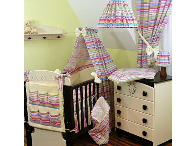 Dětské povlečení na polštář a přikrývku - proužky fialové provedení