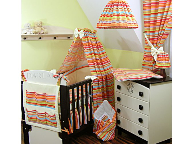 Dětské povlečení na polštář a přikrývku - proužky oranžové provedení