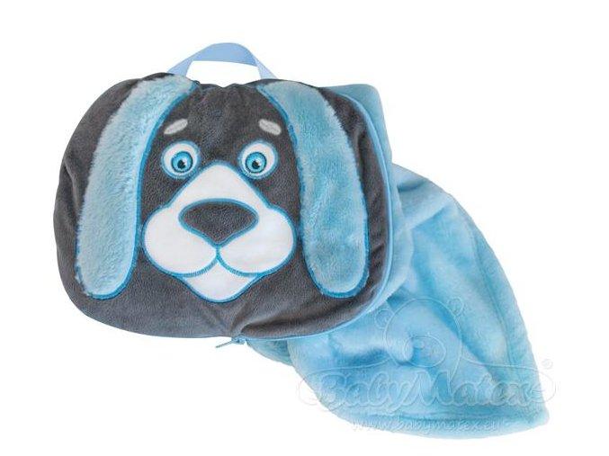 Baby Matex Sami deka 2v1 75x100 cm Modro šedý pejsek
