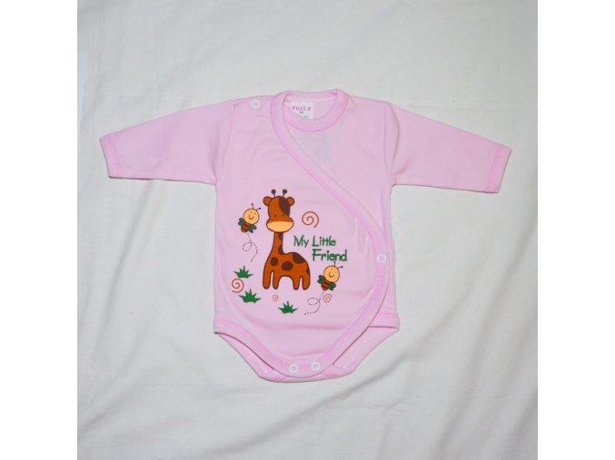Bavlněné body se žirafkou růžové 62