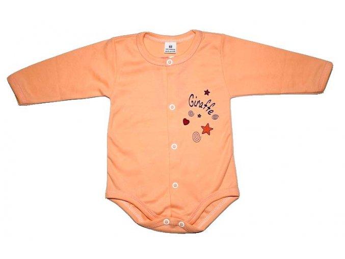 Bavlněné body zapínání střed  Giraffe oranžová vel. 68