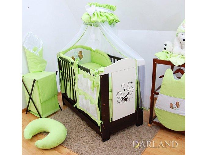 Dětské povlečení na polštář a přikrývku - sada s výšivkou medvídek na houpačce zelený