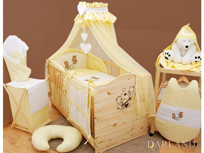Dětské povlečení na polštář a přikrývku - sada s výšivkou medvídek na houpačce žlutý