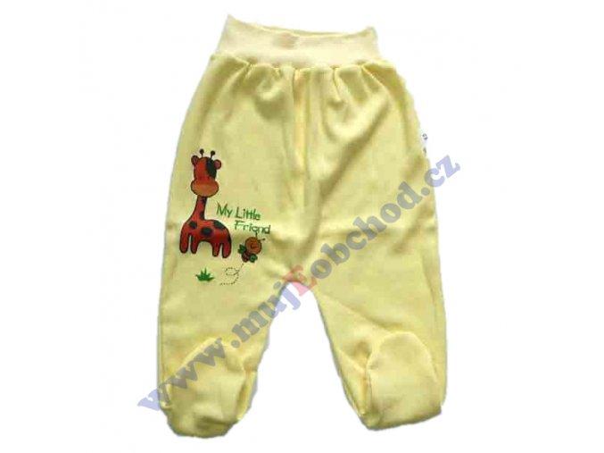 Bavlněné polodupačky se žirafkou žluté 62