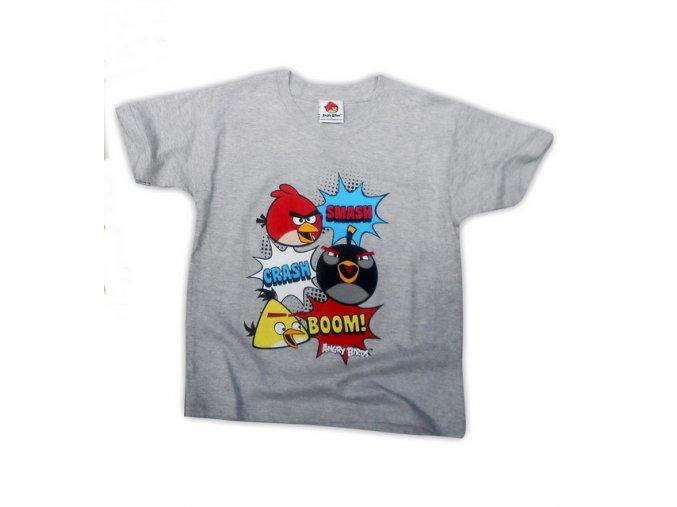 Bavlněné tričko Angry Birds šedé 146/152