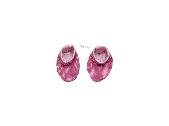 Botičky/ponožtičky BAVLNA Mamatti - Myška růžové puntíky