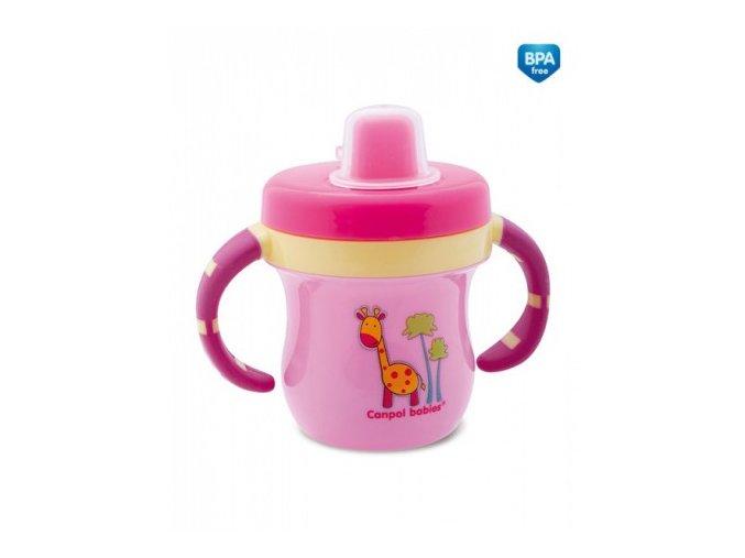 Canpol Babies Hrníček s krytem na pítko Colouful Animals růžový