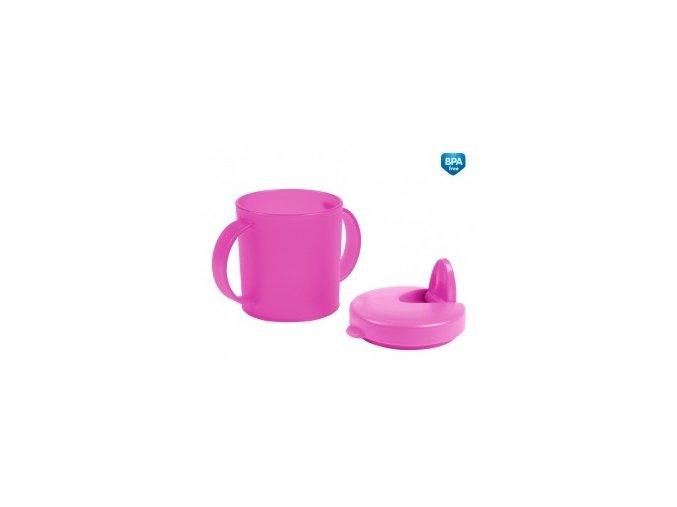 Canpol Babies Hrníček s pítkem Basic celý růžový 31/415