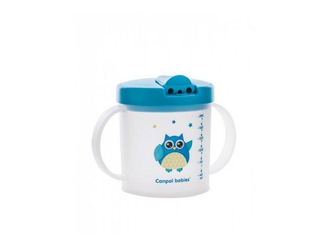 Canpol Babies Hrníček se skládacím pítkem Sova modrá