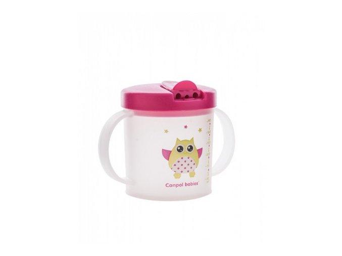 Canpol Babies Hrníček se skládacím pítkem Sova růžová