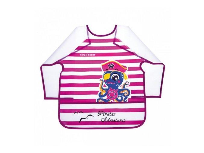 Canpol Babies Plastový bryndák s rukávky Piráti 36m+ růžový