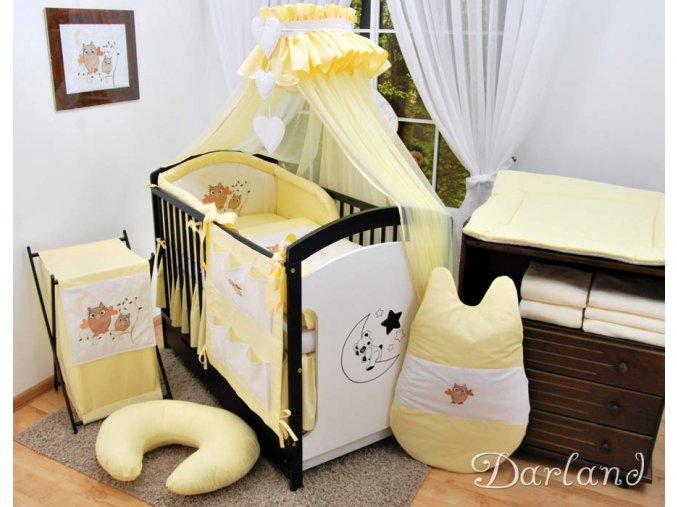 Dětské povlečení na polštář a přikrývku - sada s výšivkou soviček žlutá