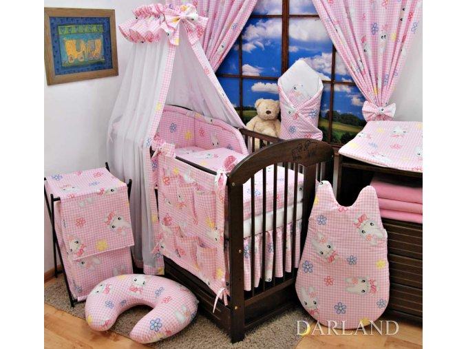 Dětské povlečení na polštář a přikrývku - sada Zajíčci na růžové kostičce