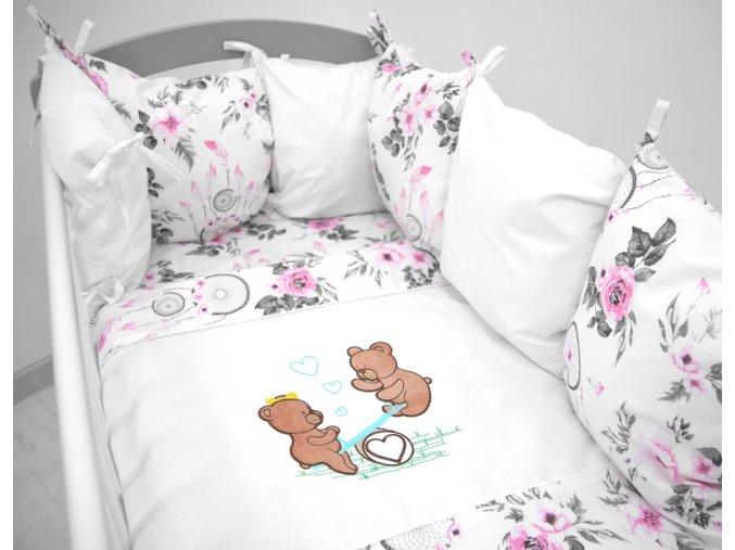 22 sada lapac snu ruzovo sedy medvidci na houpacce