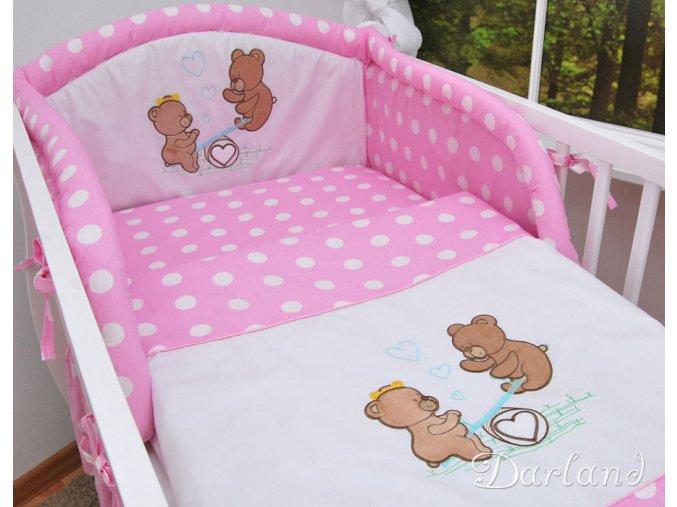 Darland 2-dílné povlečení Medvídci na houpačce Puntíky růžové