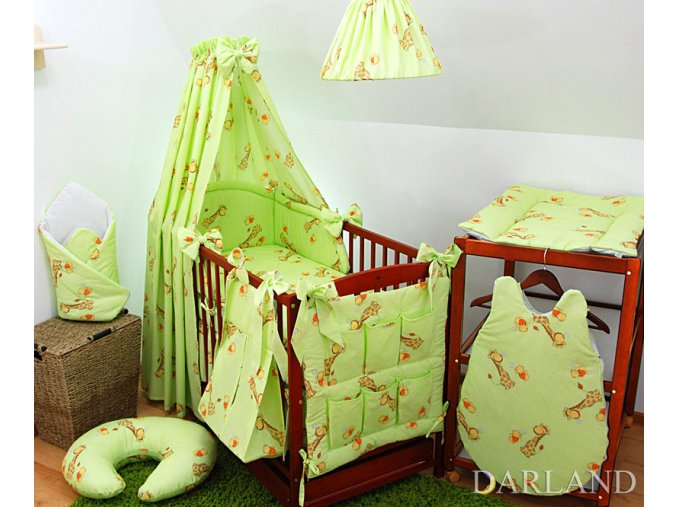 Dětské povlečení na polštář a přikrývku - sada Žirafy zelené